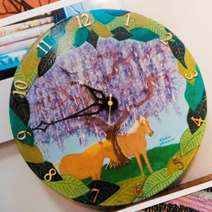 A colorfully-painted clock