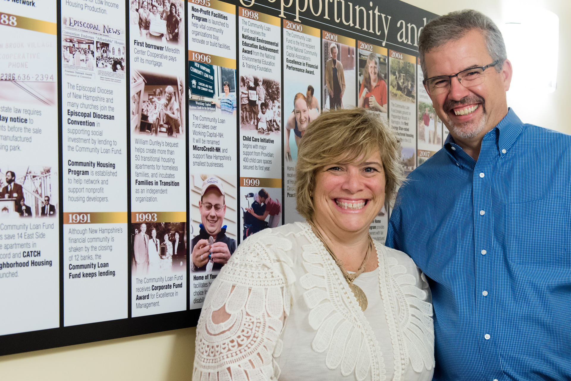 Man and woman posed in front of Community Loan Fund timeline