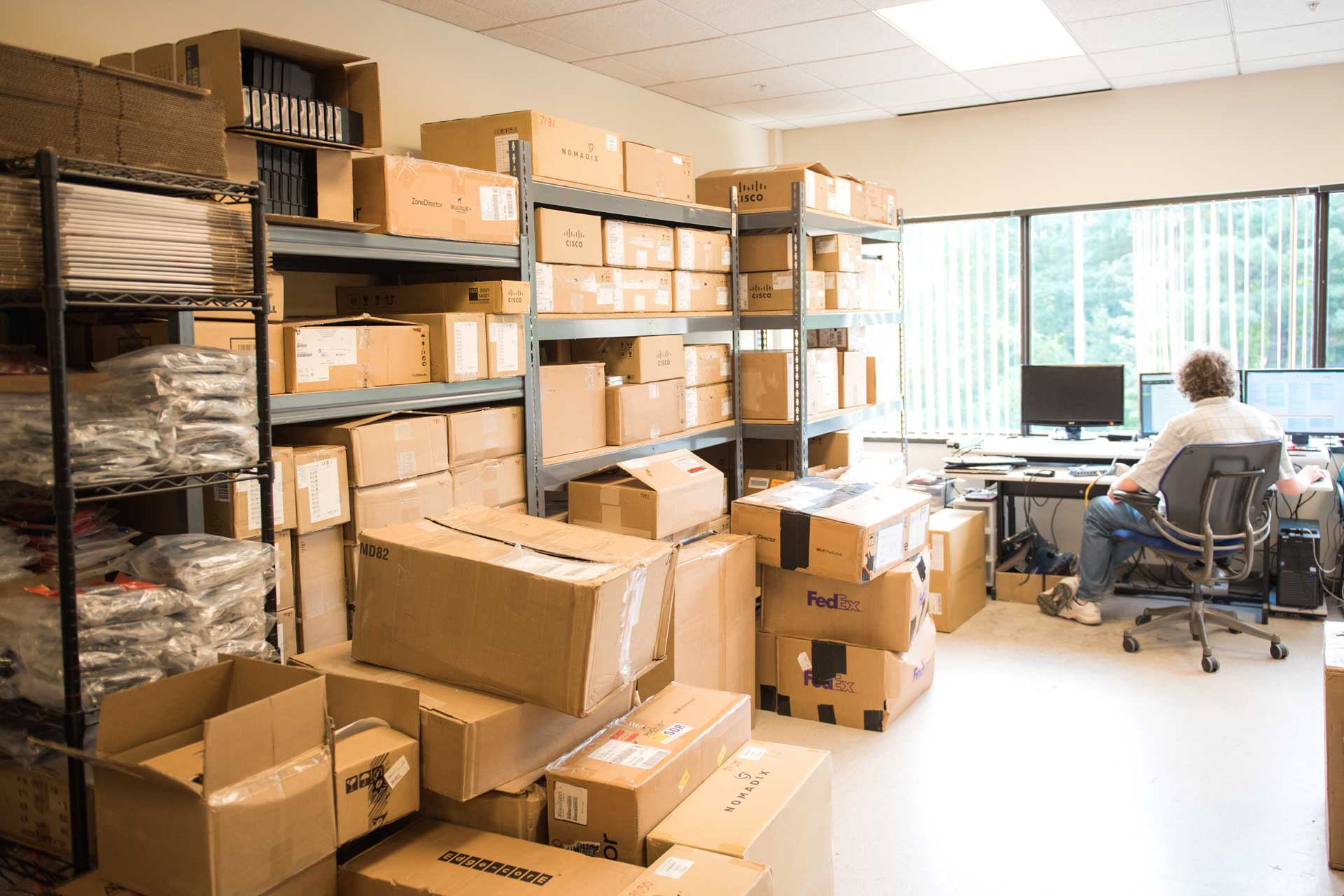 Piles of cardboard packages