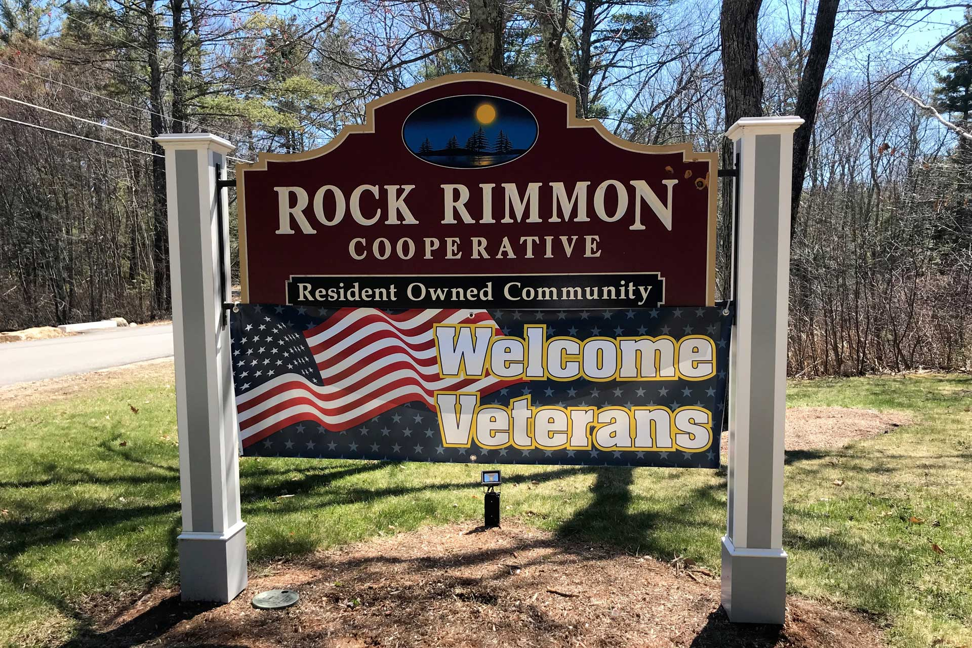 A Welcome Veterans banner hangs at the entrance to Rock Rimmon Cooperative