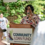 New Hampshire Community Loan Fund's Jennifer Hopkins welcomes the attendees
