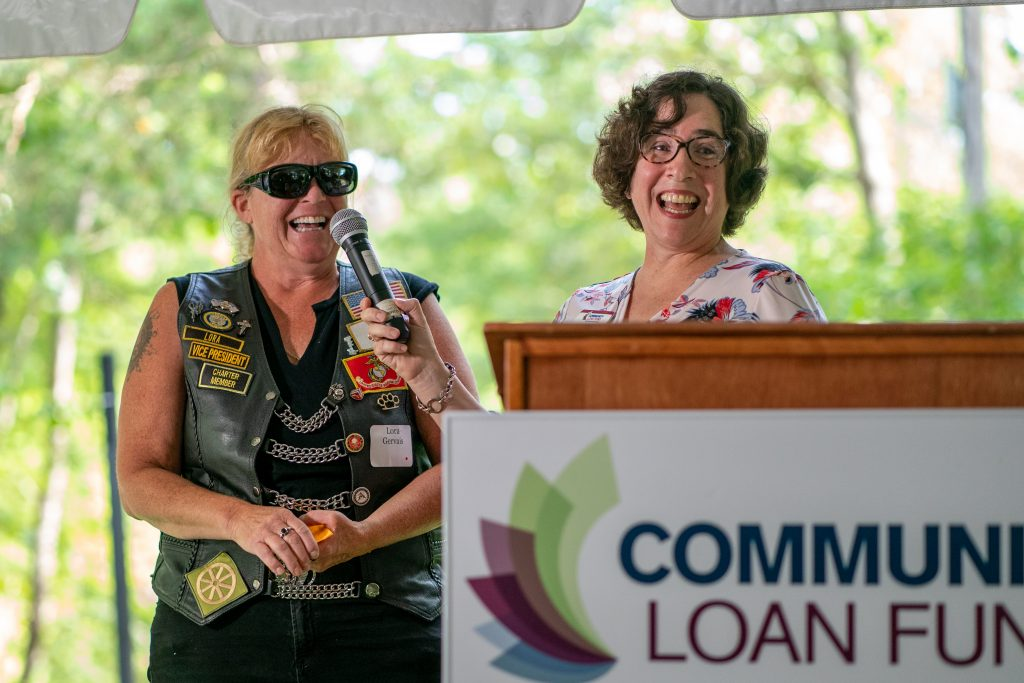 Jennifer Hopkins of the New Hampshire Community Loan Fund interviews Lora Gervais