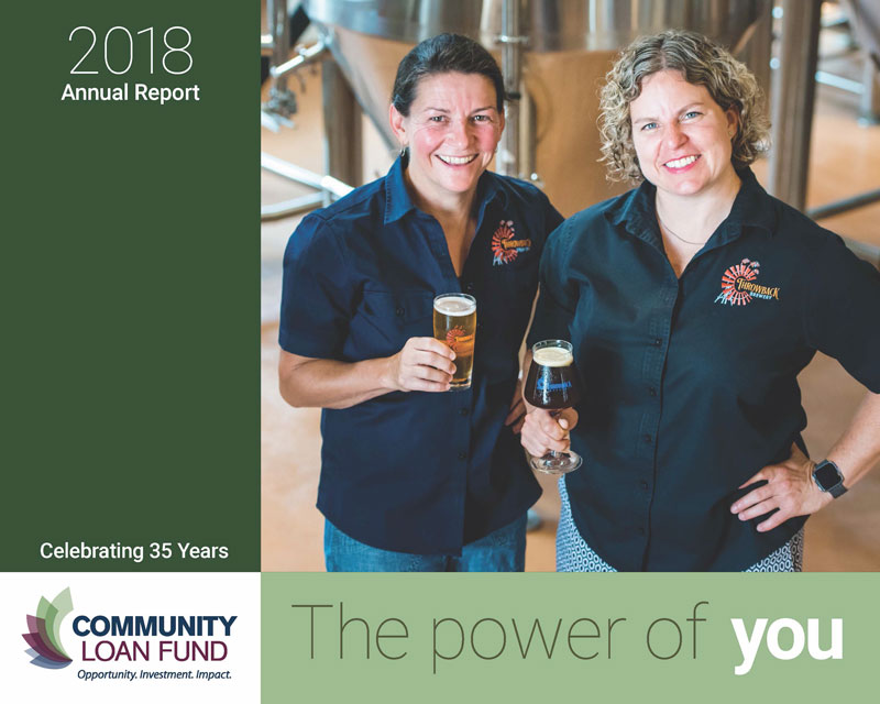 Cover image of the New Hampshire Community Loan Fund's 2018 annual feport, featuring the co-owners of Throwback Brewery.