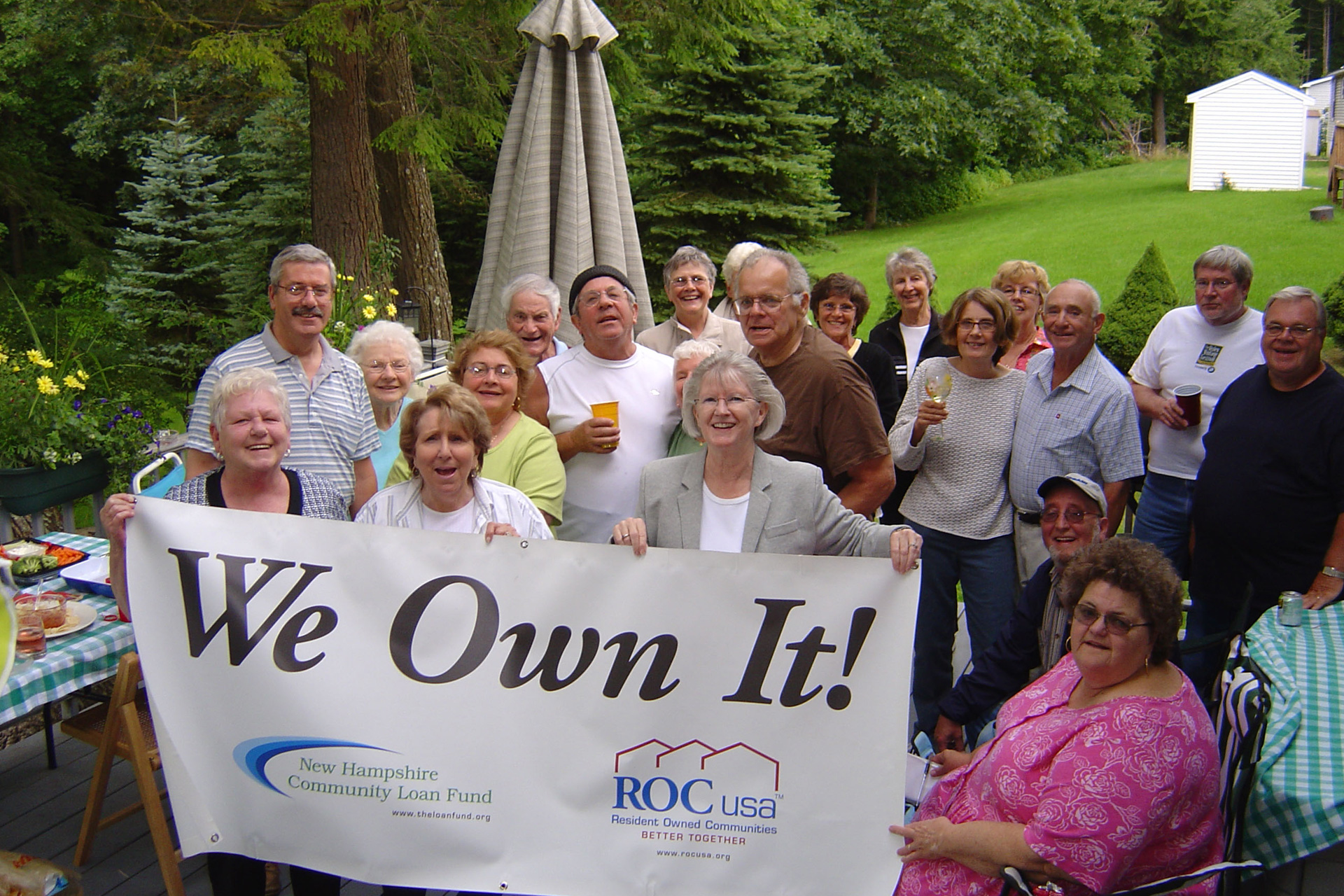 Residents of Aberdeen West Cooperative celebrate their purchase of the manufactured-home community