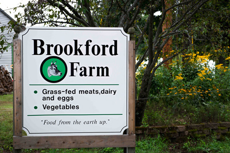 Sign welcomes visitors to Brookford Farm