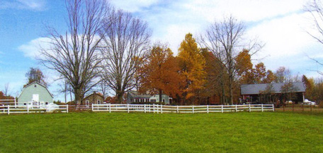 A colorful autumn view of Manning Hill Farm