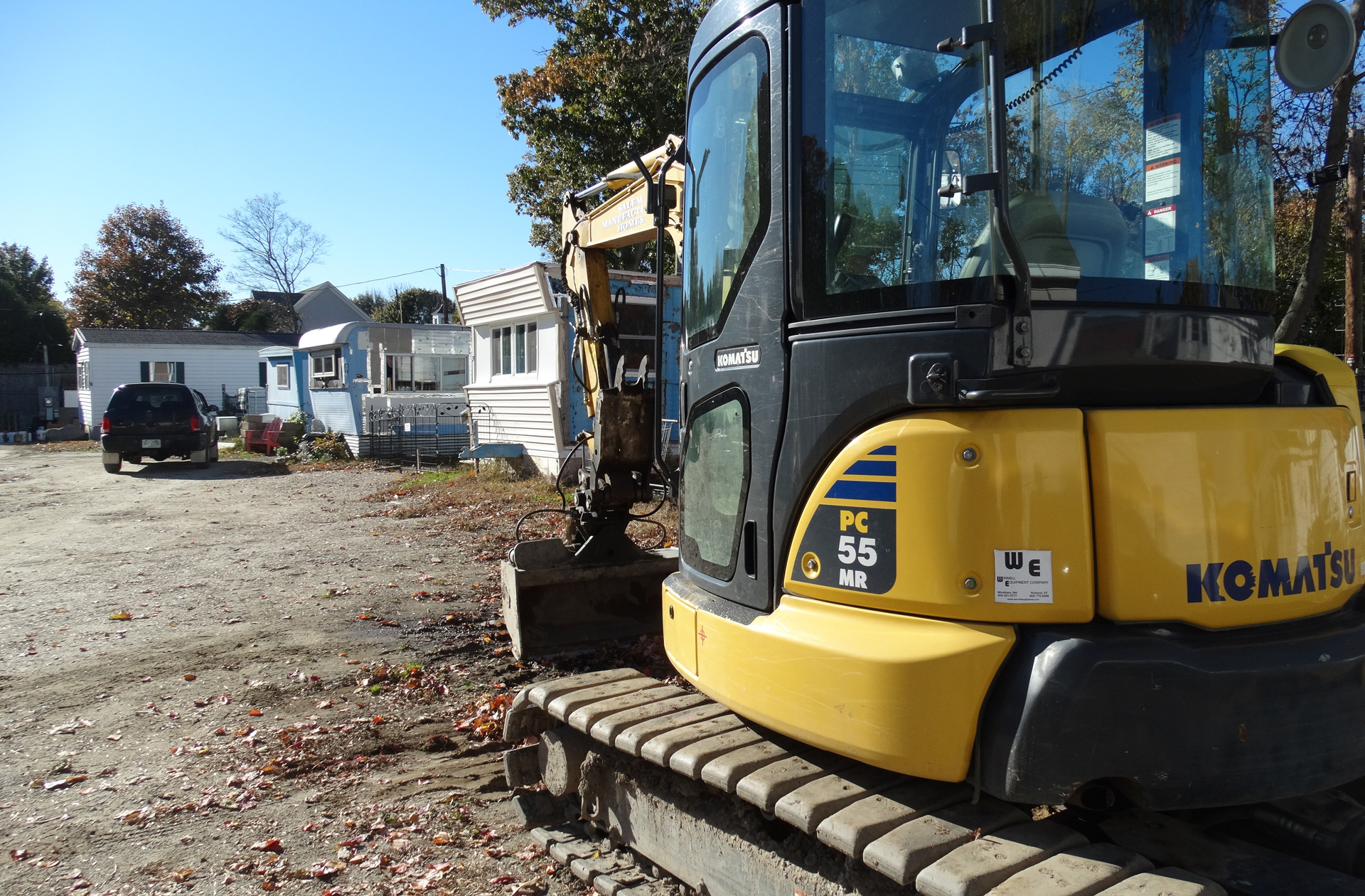 Construction equipment in a resident-owned community